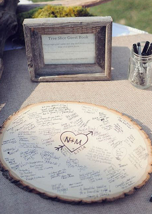 10 Creative Ways to Style Wood Slabs in Your Wedding Decor Unique Guestbook