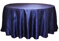 Crushed Taffeta 120″ Round Tablecloth – Navy Blue