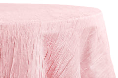 "Accordion Crinkle Taffeta 120"" Round Tablecloth - Pink"