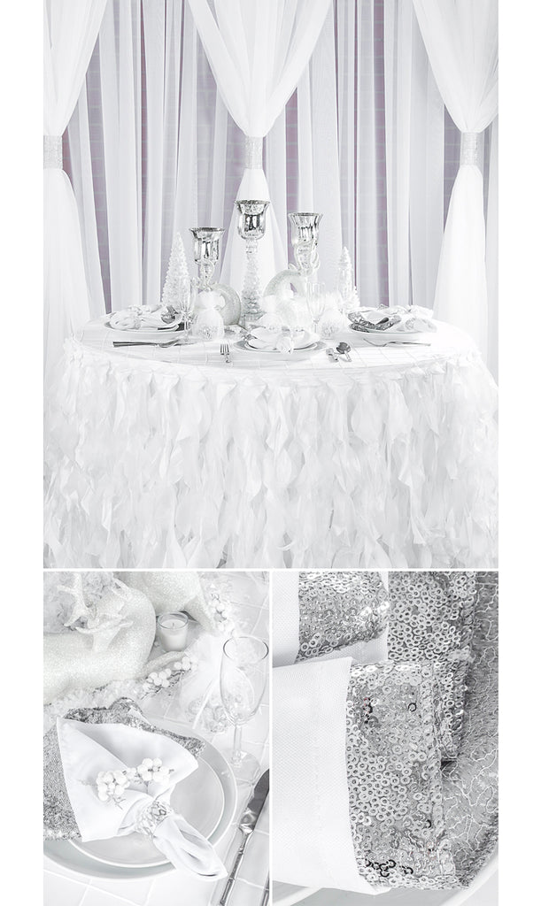 winter wonderland table with curly willow silver glitz sequin napkins sheer drapes silver rhinestone weddng