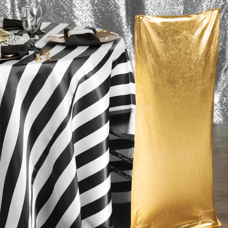Black and White Stripe Tablecloth with Gold Metallic Chiavari Chair and Rhinestone accents