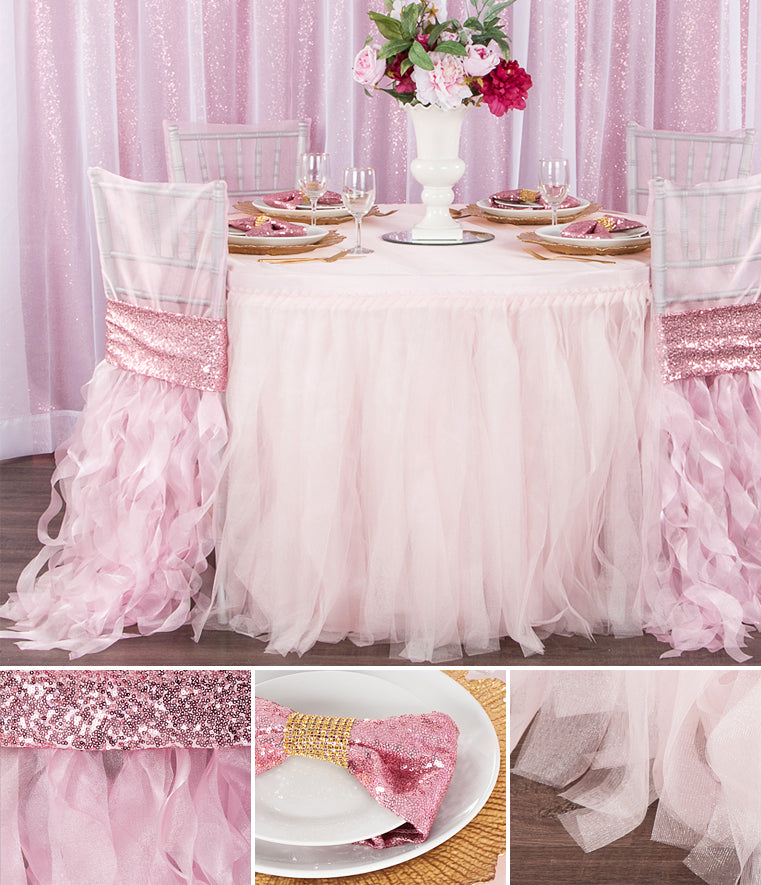 Pink and blush tutu skirt tablescape gold sequins