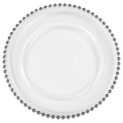 Beaded Glass Charger Plate – Silver trim