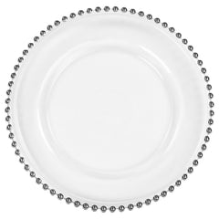 Beaded Glass Charger Plate - Silver trim