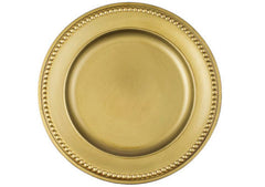 Beaded RIM Charger Plate 14″ Round – Antique Gold