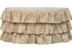 Three Tier Ruffled Burlap Table Skirt 14 ft – Natural