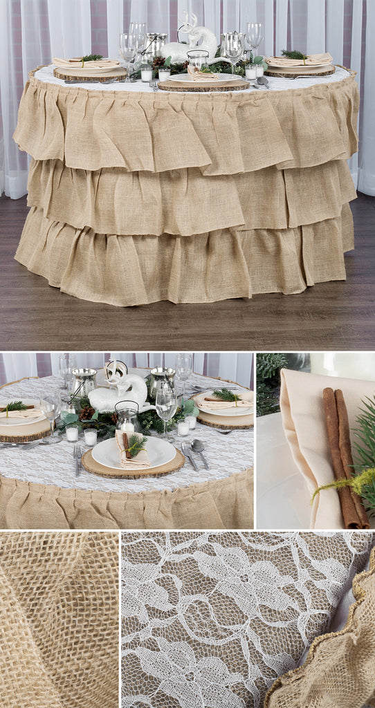 rustic burlap linens with lace and woodslices