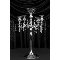 Candelabra Centerpiece with Hanging Crystals – Silver