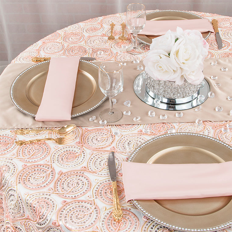 blush and champagne wedding 2016 trend texture embroidery tablecloth rhinestone