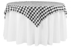 "Checkered Square 54""x54"" Polyester Overlay/Tablecloth - Black/White"