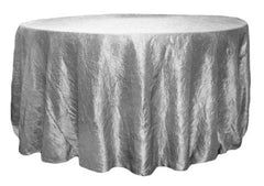 Crushed Taffeta 120″ Round Tablecloth – Silver