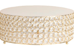 Crystal 14″ Round Cake Stand – GOLD Plated
