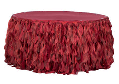 Curly Willow 14ft Table Skirt – Apple Red (new tone)