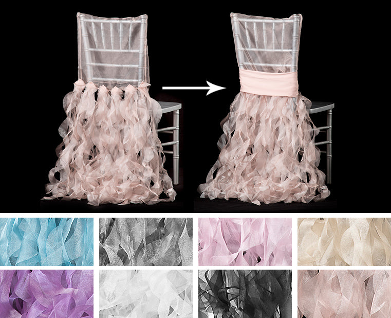 Blush, Black, White, Lilac, Champagne, Pink, Silver, Blue Curly Willow Chair Back Covers