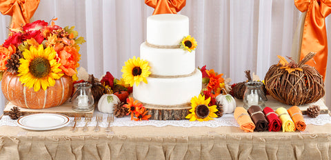 fall dessert table burlap rustic orange sunflowers and wood