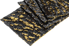 Flip Up Reversible Two Tone Sequin Table Runner - Black & Gold