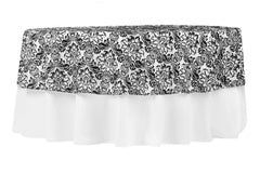 "90"" Round Damask Flocking Taffeta Tablecloth/Overlay - Black & White"