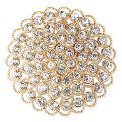 Flower Brooch Rhinestone Chair Pin Sash Buckle - Gold
