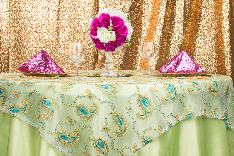 Fuchsia Apple Green Paisley Gold Event Linens