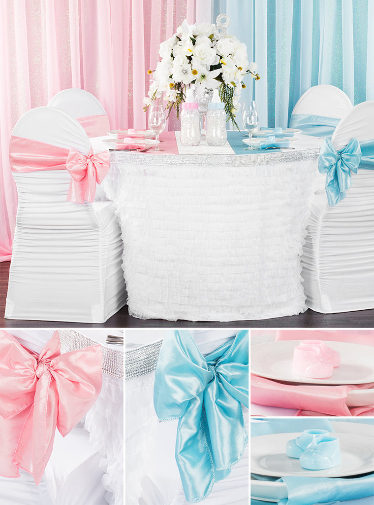 gender reveal party linen decor party decorations pink and baby blue
