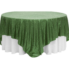 "Glitz Sequin Table Overlay Topper 90""x90"" Square - Willow Green"