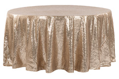 "Glitz Sequins 120"" Round Tablecloth - Champagne"