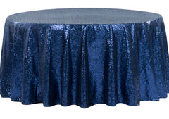 Glitz Sequins 120″ Round Tablecloth – Navy Blue