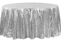 Glitz Sequins 120″ Round Tablecloth – Silver