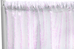"Glitz Sequin 8ft H x 52"" W Drape/Backdrop panel - Iridescent White"