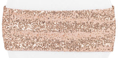 Glitz Sequin Spandex Chair Band – Blush/Rose Gold