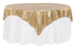 "Glitz Sequin Table Overlay Topper 72""x72"" Square - Gold"