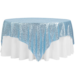 "Glitz Sequin Table Overlay Topper 90""x90"" Square - Baby Blue"