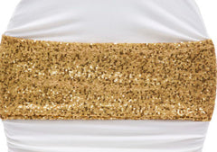 Glitz Sequin Spandex Chair Band – Gold