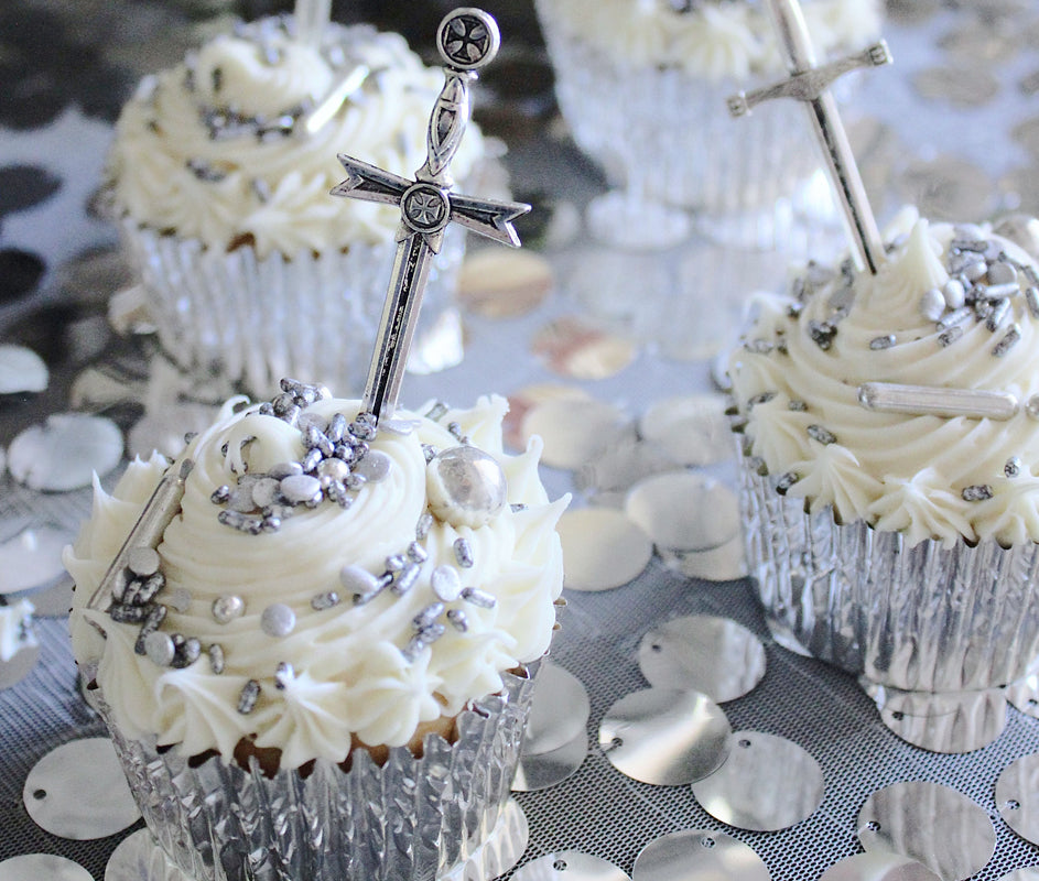 How to First Birthday Party Dessert Table Decor Medieval Sword Cupcakes