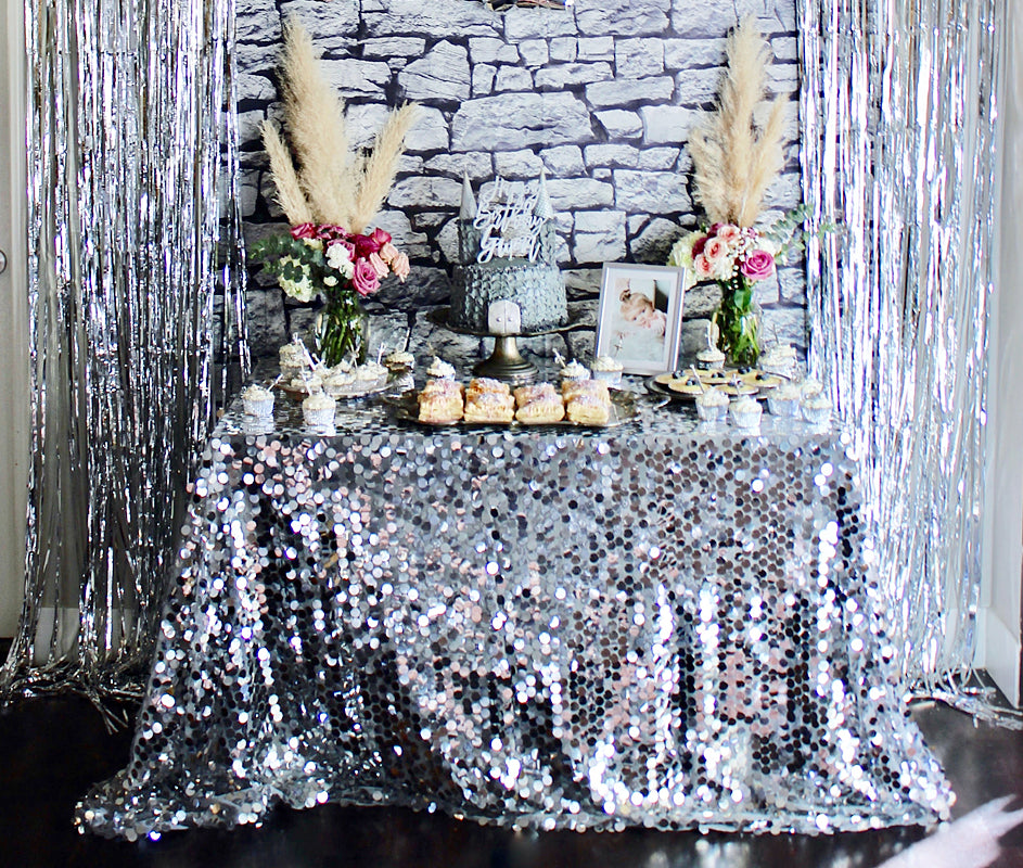 First Birthday Party Dessert Table Decor Sequin Tablecloth