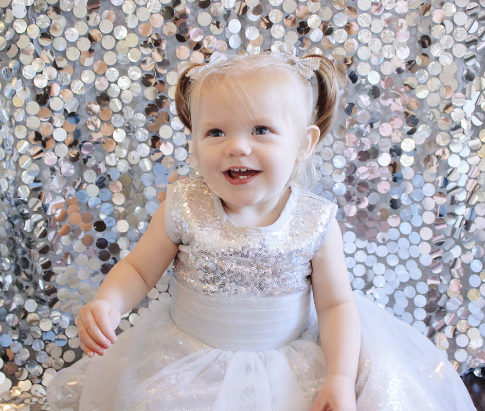 How to First Birthday Party Photo Shoot Sequin Backdrop