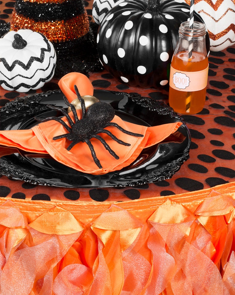 Kid's Halloween Party with Orange Curly Willow Orange Taffeta Tablecloth Black Organza Polka Dots with Orange Lamour Satin Napkin