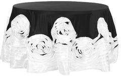 Large Rosette Flower Tablecloth Round – Black & White