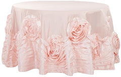 Large Rosette Flower Tablecloth Round – Blush