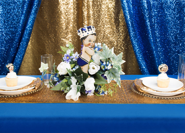 Royal Blue & Gold Glitz Little Prince Baby Shower
