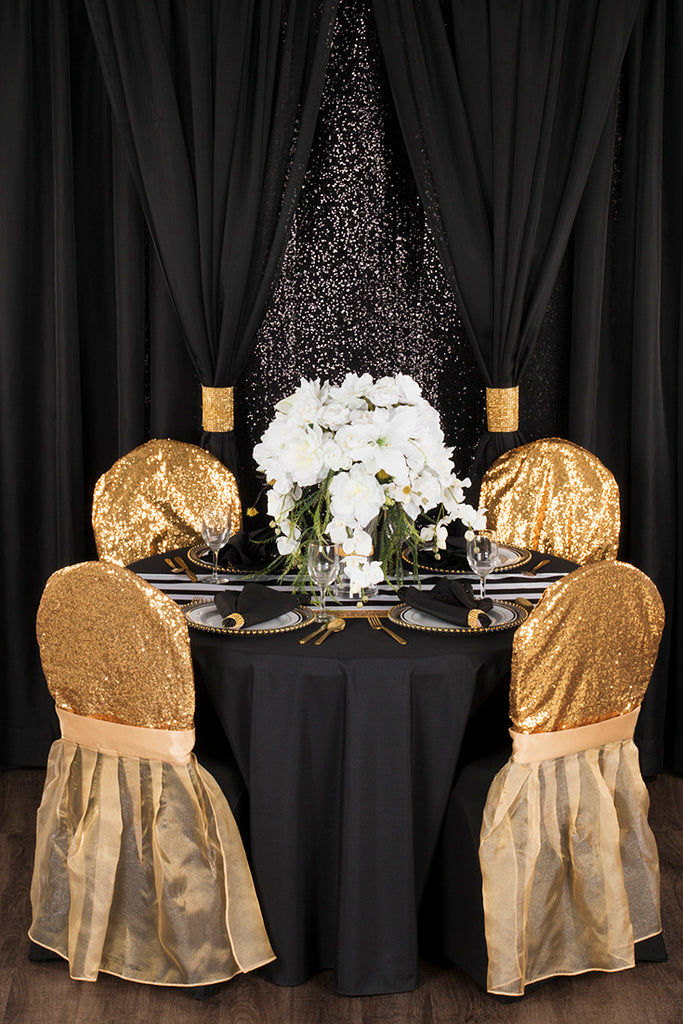 vintage glam wedding with black and gold sequins