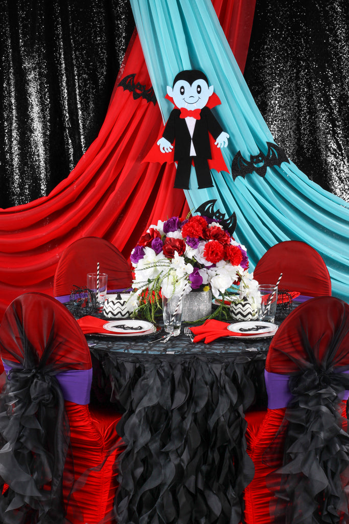 kids halloween party vampire red turquoise theme