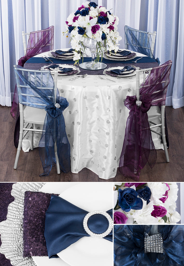 Jewel Tone Weddings with sequins in plum, emerald, navy blue with charger plates, napkins, tablecloths, chair sashes, and more on chiavari chair