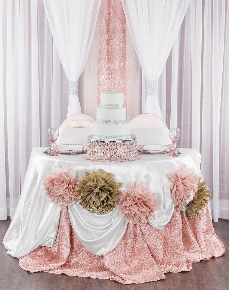 Luxe Wedding Linens on Sweetheart Wedding Reception Table