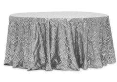 Mermaid Scales 120″ Round Tablecloth – Silver