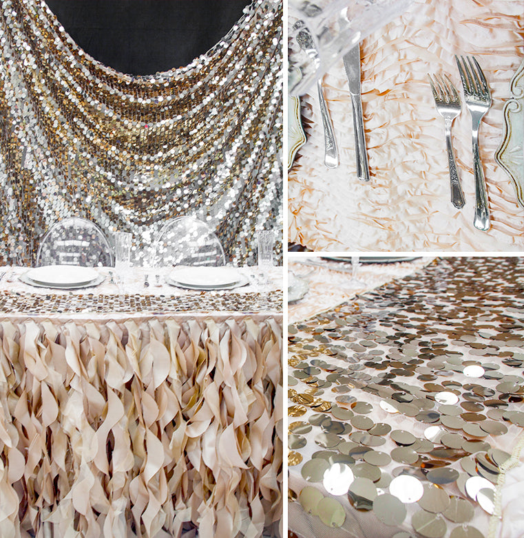 champagne sequin backdrop table runner