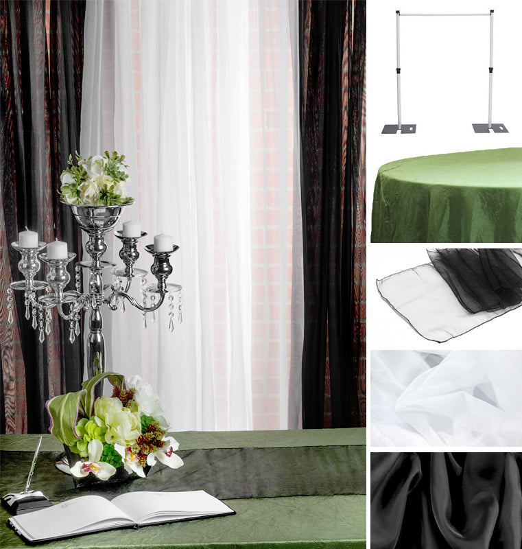 Willow Black White Guestbook Table Collage