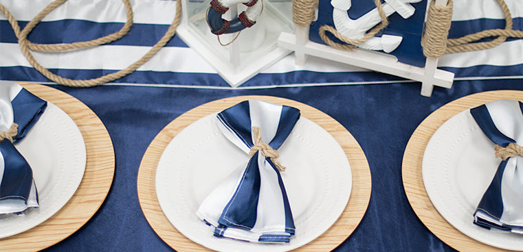 Collage navy tablecloth nautical theme fathers day party decor stripes