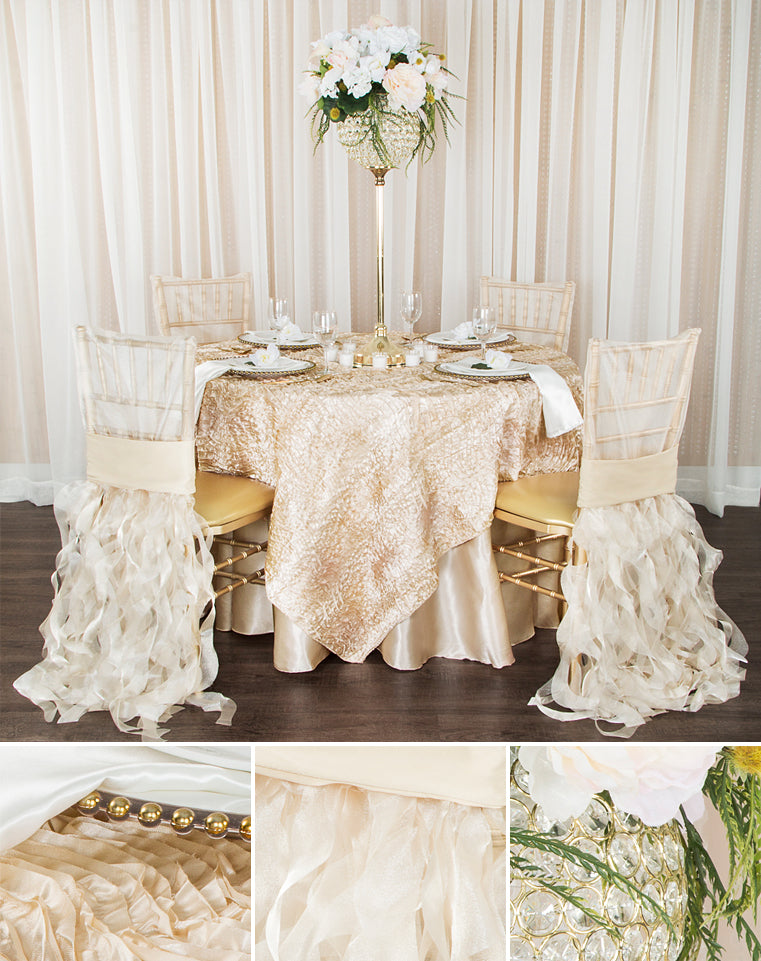 Clearance linen wave satin champagne and ivory tablecloths with gold charger plates