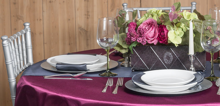pewter sangria table linens satin tablecloth chair sashes table runner